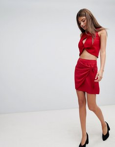 Read more about Fashion union wrap mini skirt with tie detail - deep red