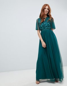 Read more about Amelia rose embellished maxi dress with fluted sleeve in emerald green - green