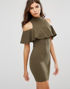 Read more about Ax paris cold shoulder high neck mini dress with ruffled detail - khaki
