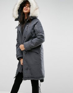 Read more about Asos washed ma1 parka with faux fur lining - grey