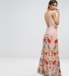 Read more about Hope ivy printed maxi dress with lace up back detail - pink multi