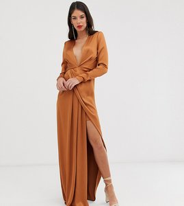 Read more about Asos edition tall split side plunge maxi dress in satin