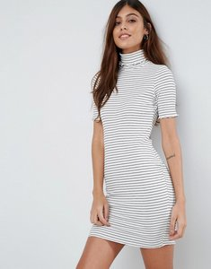 Read more about Asos stripe bodycon dress in rib with roll neck - white black stripe