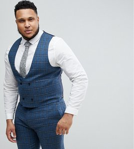 Read more about Asos plus skinny suit waistcoat in blue gradient wool blend check - blue