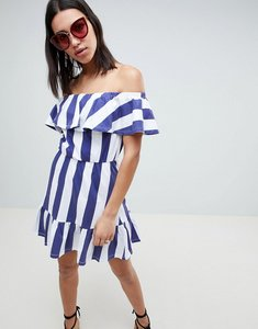Read more about Asos design off shoulder sundress with tiered skirt in deckchair stripe - navy white stripe