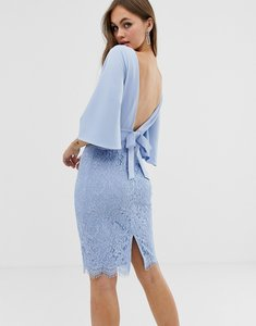 Read more about Paper dolls flutter sleeve 2 in 1 lace pencil dress in powder blue