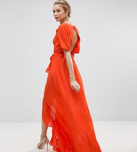 Read more about Asos tall tea dress maxi with ruffle detail and open back - orange