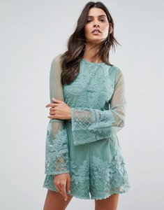 Read more about Asos placement lace occasion playsuit - mint