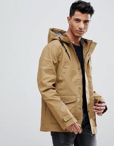 Read more about Threadbare hooded coat with toggles - tan