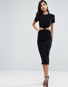 Read more about Asos twist front midi bodycon dress with cut out - black