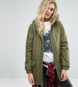 Read more about Noisy may tall parka jacket with faux fur trim hood - ivy green