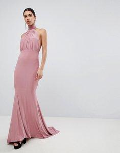 Read more about Club l bridesmaid halterneck high neck fishtail maxi dress - blush