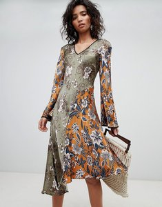 Read more about Ghost mixed print long sleeve midi dress - ruth flower