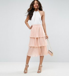 Read more about Asos tall tiered pleated midi skirt - nude