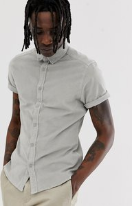 Read more about Asos design slim fit stretch cord shirt in pale grey - grey