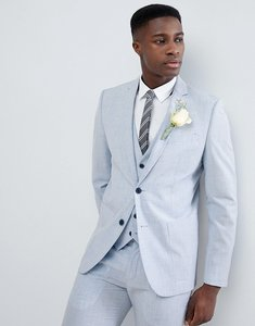 Read more about Farah skinny wedding suit jacket in cross hatch - lake blue