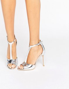 Read more about Public desire alex t-bar silver heeled sandals - silver mirror