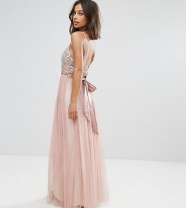 Read more about Maya petite cami strap bow back embellished maxi dress - pale mauve