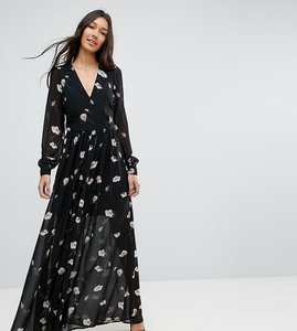 Read more about Vero moda tall floral maxi dress - black