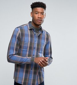 Read more about Asos design tall regular fit check shirt in pale blue - blue