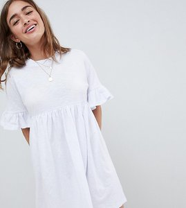 ddb92a57edc Read more about Asos design petite cotton slubby frill sleeve smock dress -  white