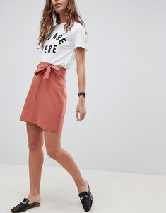 Read more about Asos design tailored obi tie mini skirt - terracotta