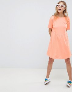 Read more about Asos design smock dress with diamond open back - papaya