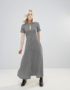 Read more about Rock religion stripe keyhole maxi dress - black white stripe