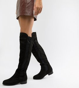 Read more about Boohoo flat over the knee boots in black