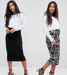Read more about Asos maternity over the bump longer line skirt 2 pack midi in print plain - black print
