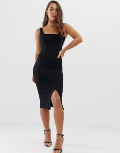 Read more about Asos design square neck midi bodycon dress - black