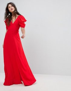 Read more about Asos short sleeve button through maxi dress - red