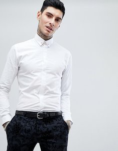 Read more about Noose monkey skinny shirt with collar pin - white