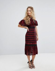 Read more about Foxiedox cold shoulder midi dress with peplum hem in allover lace - red
