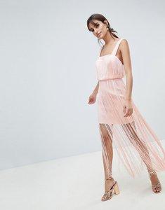 Read more about Asos design fringe square neck scuba midaxi dress - nude