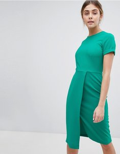 Read more about Closet london short sleeve wrap over detail dress - green