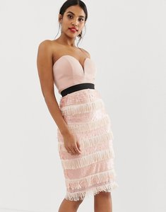 Read more about Rare london sequin fringe midi dress with sweetheart neckline in pink