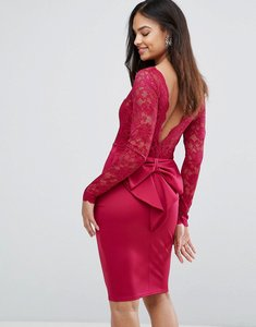 Read more about City goddess long sleeve lace mini dress with bow back - raspberry