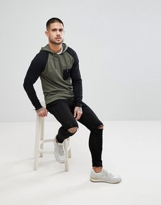 Read more about Asos muscle hoodie with contrast raglan sleeve in khaki and black - toad black