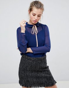 Read more about Traffic people high neck blouse with tie front - navy