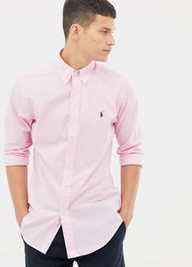 Read more about Polo ralph lauren slim fit poplin shirt with button down collar in pink