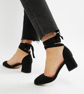 Read more about Asos design wide fit sorrow mid heels - black
