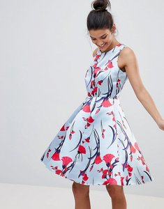 Read more about Closet london premium prom sateen skater dress in floral fan print - multi