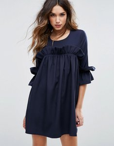 Read more about Missguided frill detail smock dress - navy