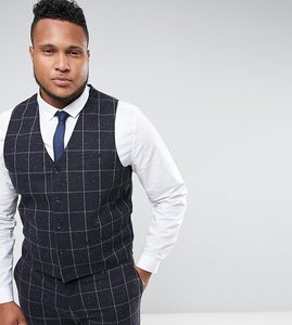 Read more about Asos plus super skinny suit waistcoat in navy check with nep - navy