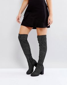 Read more about Truffle collection chunky heel stretch over knee boot - silv spot blk velvet