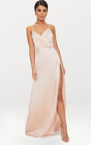 8838f5191aa Read more about Lucie champagne silky plunge extreme split maxi dress yellow