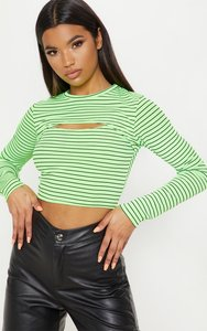 6387d24f4ad69 Read more about Neon stripe rib cut out long sleeve crop top neon yellow
