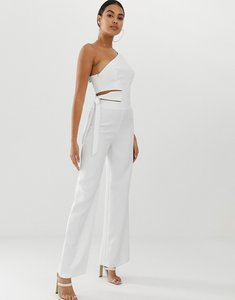 Read more about 4th reckless jumpsuit with cut out detail and side tie-white