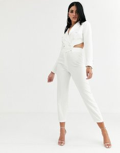 Read more about 4th reckless tuxedo jumpsuit with cut out back detail in white